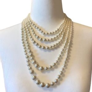 5 strand cascading faux pearl necklace